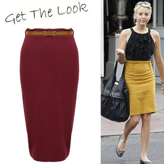 View Item Wine Belted Pencil Skirt